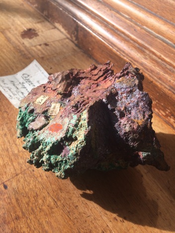 Copper with Cuprite (red) and Malachite (green) from Dognacska, Hungary, BM.87201, ex. Born collection
