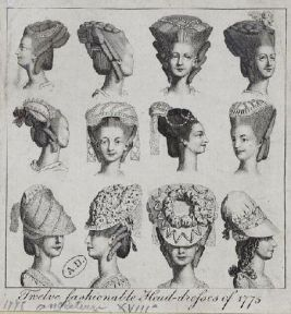 Twelve fashionable head-dresses, 1775