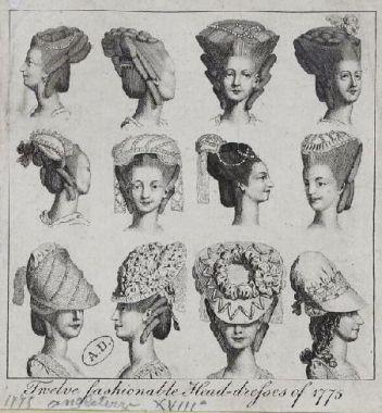 Twelve fashionable head-dresses, 1775